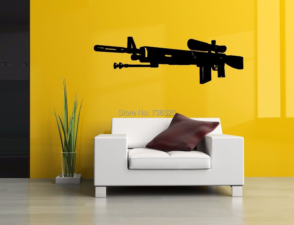 Gun Vinyl Wall Decal Sniper Rifle Large Mural Art Sticker Bar Home Decoration Kid's Room Bedroom - 365DAYS SWEET HOME (HOME Artist-Vicky Li store)
