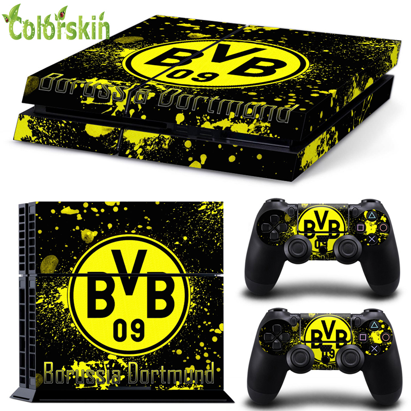 Football club BVB design skin sticker for playstation 4 PVC ps4 skin for console and dualshock 4(China (Mainland))