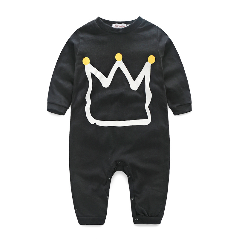 Baby boy clothes 2016 the newest baby ha garments Long sleeve The cute clothing crown design free shipping(China (Mainland))