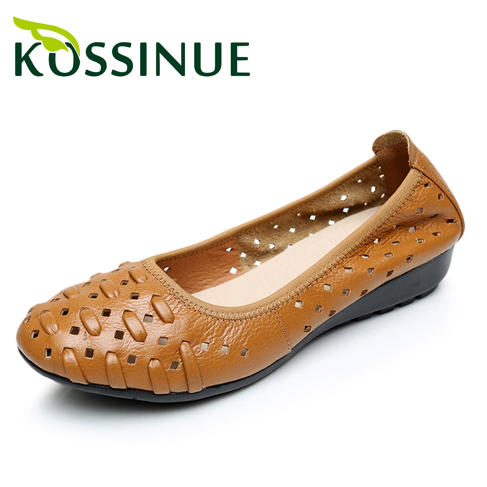 Big size 35-43 Genuine leather shoes flat women sandals hot sale cutout round toe shoes soft leisure female sandals summer shoes(China (Mainland))