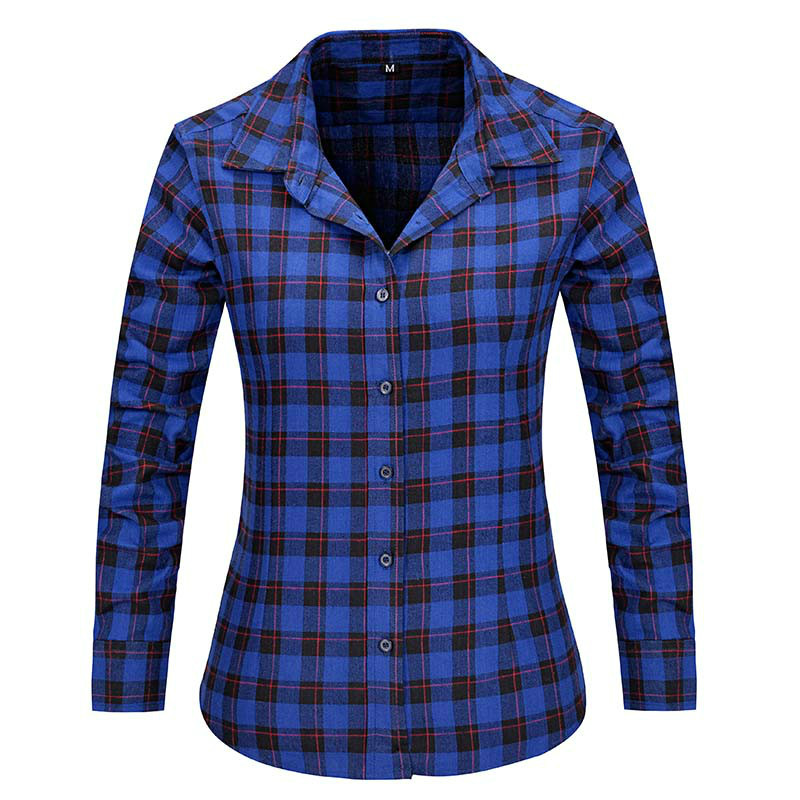 2016 new fashion girl 39 s plaid flannel shirt female long for Girl in flannel shirt
