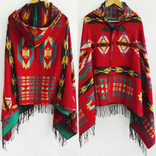 2015 Bohemian Shawl Scarf Tribal Fringe Hoodies Jacket Ethnic Warm Cardigans For Women blankets Cape shawl Ponchos and Capes(China (Mainland))