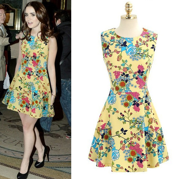 2014 New Fashion Summer Womens Sleeveless Dresses Flowers Printing Chiffon Dress Cute Novelty Dresses For women