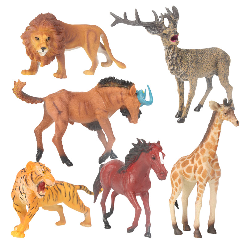 Six Pieces Artificial Wild Animal Model Set Tiger Lion Deer Giraffe Gnu Horse Learning and Educational Toys For Children(China (Mainland))