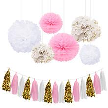 Nicro9 قطعة/المجموعة أزهار ورقية الوردي ورقة الطازجة الذهب الأبيض نقطة شرابة زينة Gender بها بنفسك الجنس سعيد حفلة عيد ميلاد لوازم الديكور.(China)