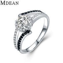 Mdean обручальные кольца для женщин подлинная стерлингового серебра 925 черный и Ясно AAA Циркон Обручальное Bague Размер 6 7 8 MSR470(China (Mainland))