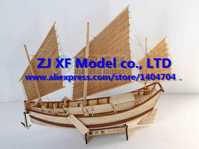 Free shipping Chinese ancient Classics wooden sailboat Model Shaoxing sail boat Assembly model kit(China (Mainland))