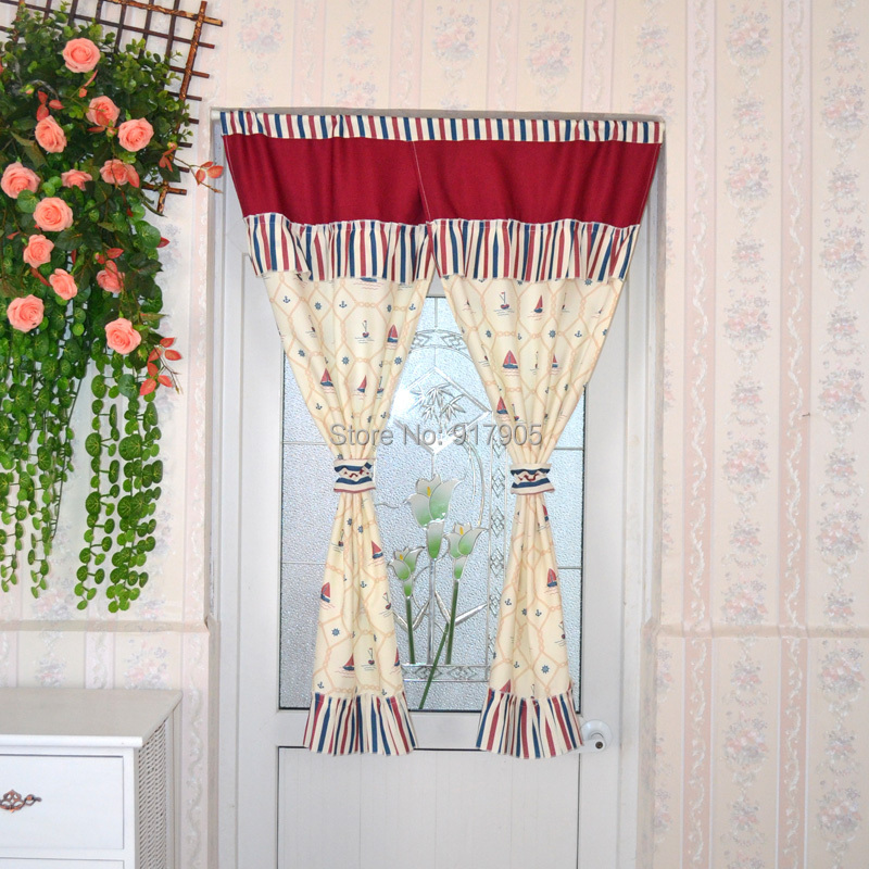 Modern Stripes Print Door Curtains Designer Brand Little Boat Room Door Curtains Fashion Curtains For Kids Cute Doorway Curtains(China (Mainland))