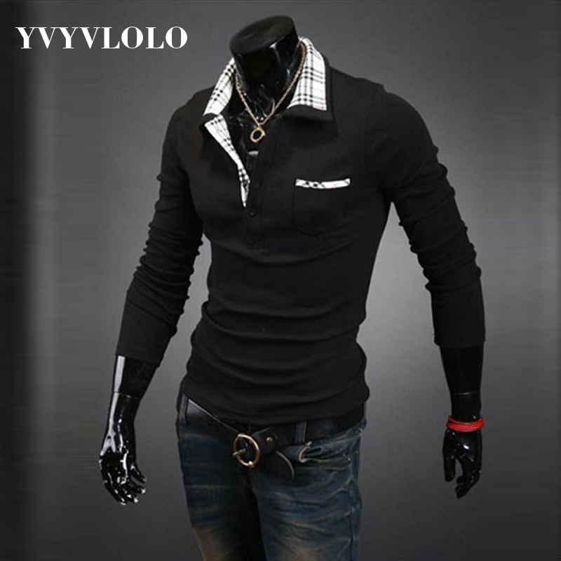 YVYVLOLO Europe New 2016 Men's Brand Solid T-shirts Cotton Long Sleeve Turn-down Collar Shirts Tees Quick Dry Shirt Sports Tops(China (Mainland))