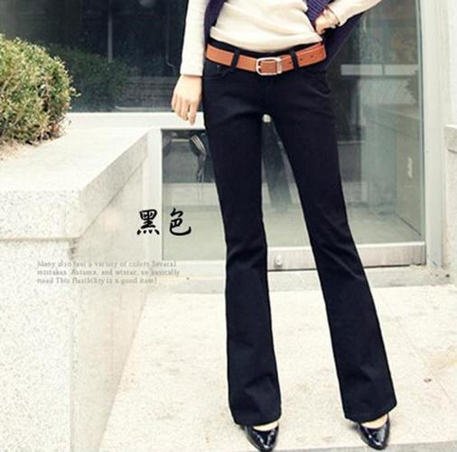 Hot 2016 Spring s black and white and cultivate one's morality micro loudspeaker female jeans small horn Plus size(China (Mainland))