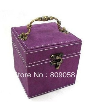 Retail High Quality 3 Layer velvet jewellery box case ,earring,ring ,necklace organizer jewelry box display,nice birthday gift(China (Mainland))