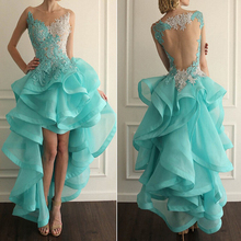 High Low Ruffle Prom Dresses Organza Cheap Hi Lo Dress Long Homecoming 2015 Custom Fit Vestidos de Baile - modabelle Suzhou Store store