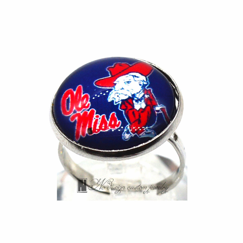 Ring Ole miss NCAA Charms Round Glass Dome Silver Plated Ring For Women Girl Adjustable GDR0123(China (Mainland))