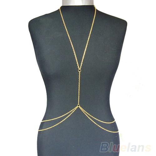 Womens Sexy Fashion Gold Body Belly Waist Chain Bikini Beach Harness Body Jewelry 1FZV(China (Mainland))