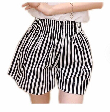 2015 New Summer Style Surf Swim Cotton Striped Beach Shorts for Women Swimwear Board Shorts Ladies Casual Loose Swimsuit(China (Mainland))