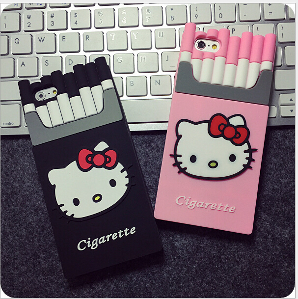 Fashion Phone Case For iPhone 6 6s Plus Silicon Smoking Kill Hello Kitty Cigarette Box Cell Phone Cover Cases For iPhone SE 5 5s(China (Mainland))