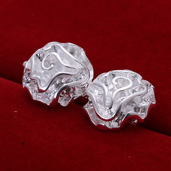 New Wholesale Fashion 925 Silver Beautiful Earring Rose Flower Style Ring 925 Sterling Silver Earrings Free Shipping E003(China (Mainland))
