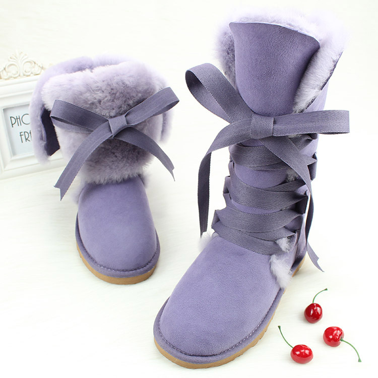 2015 New Fashion Korean Style Bowtie Tall Sheepskin Genuine Feather Winter Sweet Cute Lace-Up Women Snow Boots(China (Mainland))