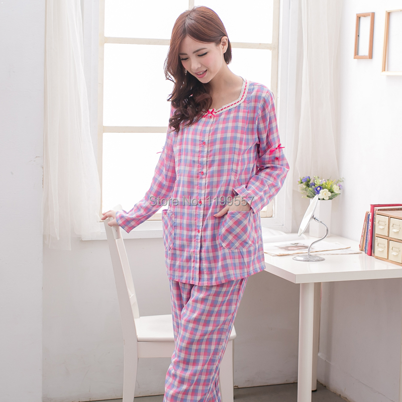 Breathable double layer yarn cotton maternity sleepwear nursing clothes month of clothing breast font b feeding