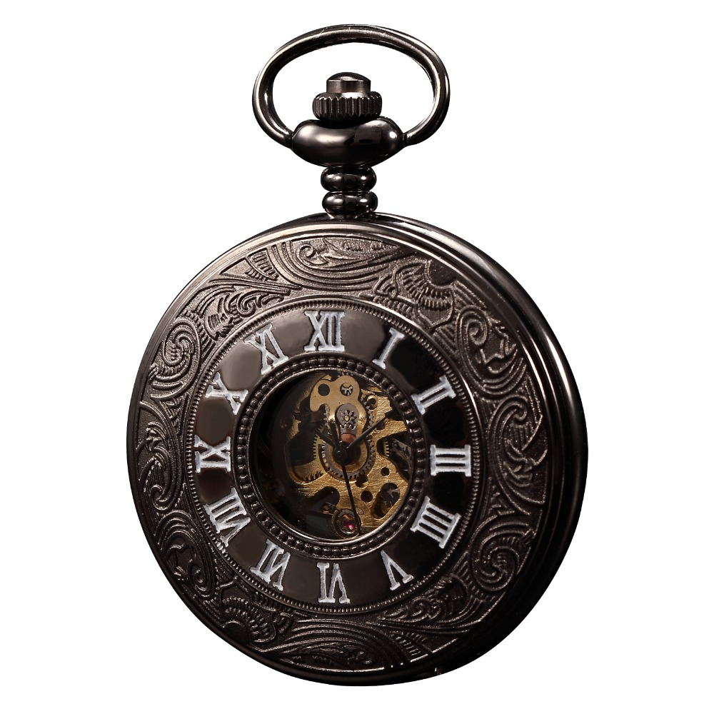 KS Classic Elegant Hand Wind Vintage Unique Retro Pendant Classic Steel Mechanical Pocket Watch KSP004