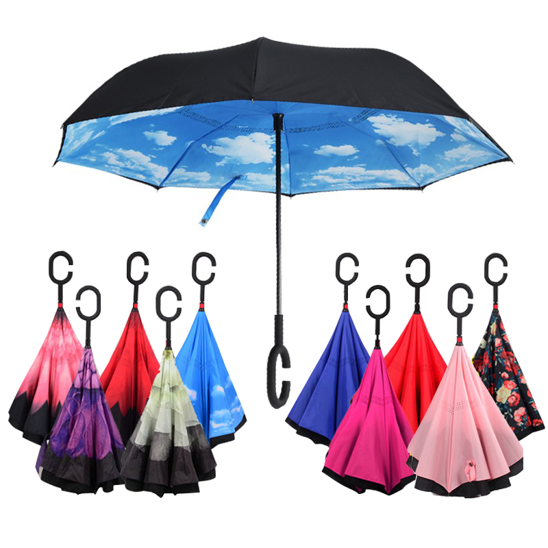 Windproof Reverse Folding Double Layer Inverted Chuva Umbrella Self Stand Inside Out Rain Protection C-Hook Hands For Car(China (Mainland))