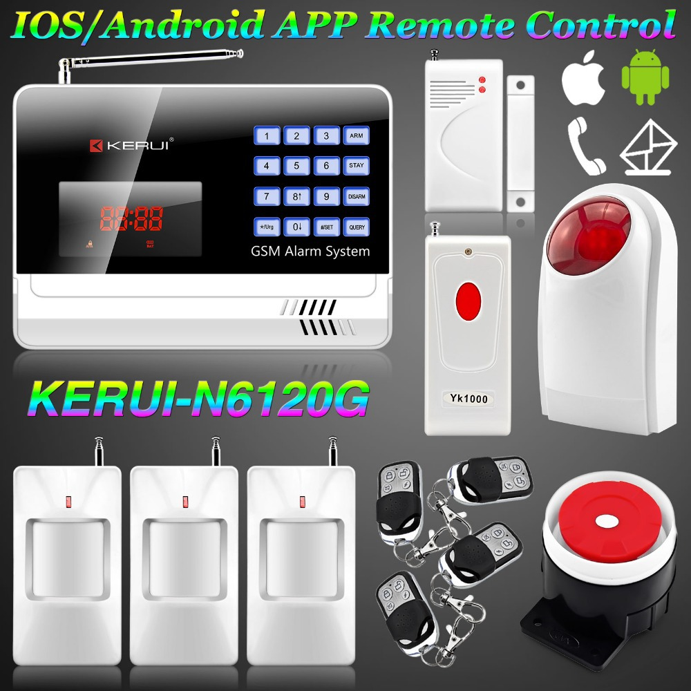 IOS/Android APP Controlled KERUI Wireless GSM Alarm Systems Security Home Autodial Wireless Flashing Siren alarm + Panic Button<br><br>Aliexpress