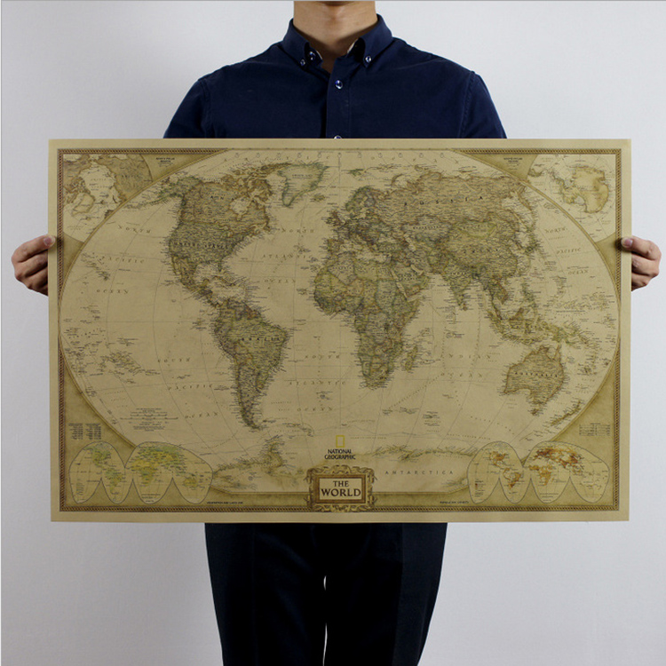 Maps World map Vintage Retro Paper Earth Poster Wall Chart Present convenient for travel high quality(China (Mainland))