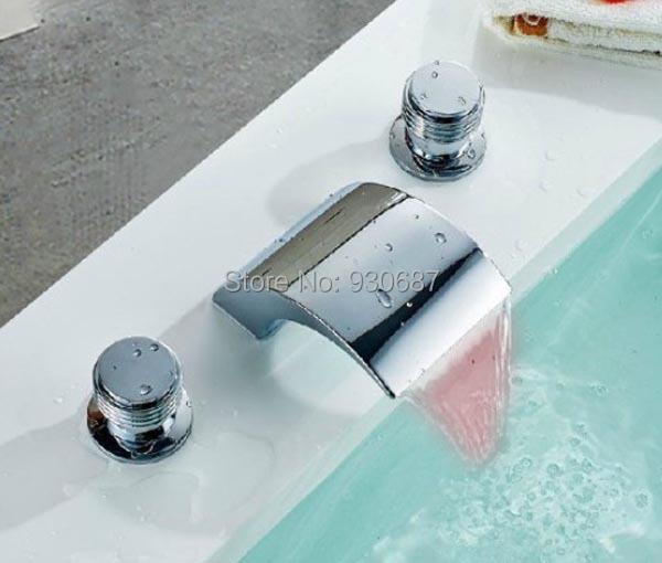 Фотография Chrome Finish Basin Faucet Waterfall LED Spout Dual Handles Mixer Tap