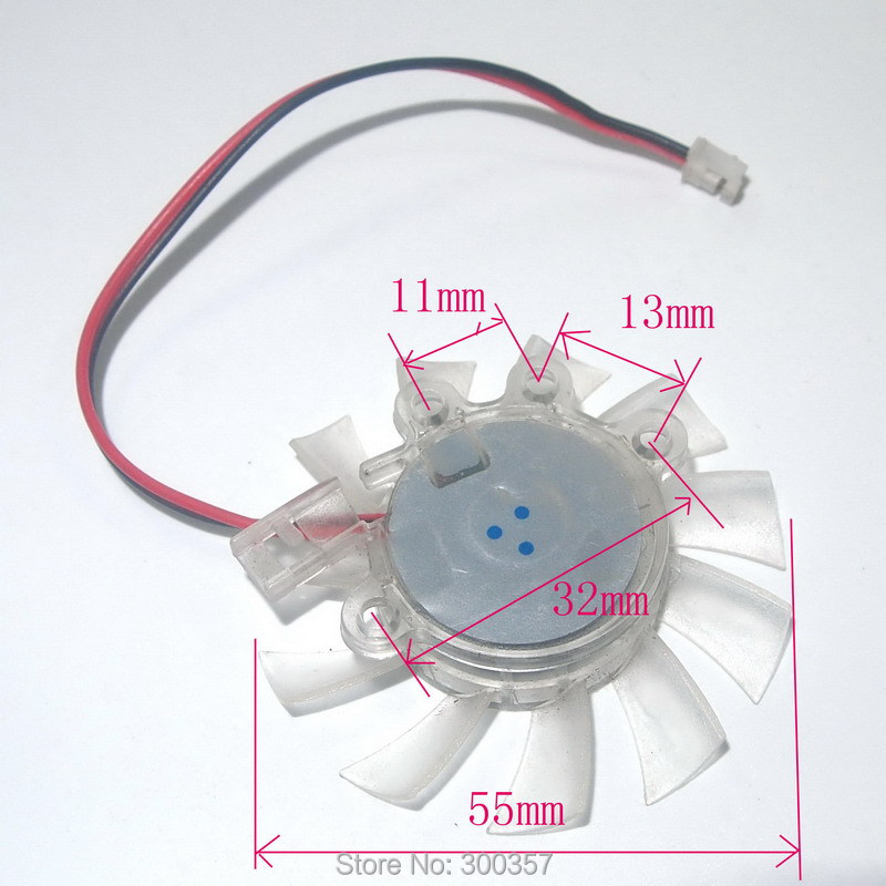 1Pcs 6cm 2pin 12V 55mm x 10mm Brushless DC Fan Graphics card Cooler Fan(China (Mainland))