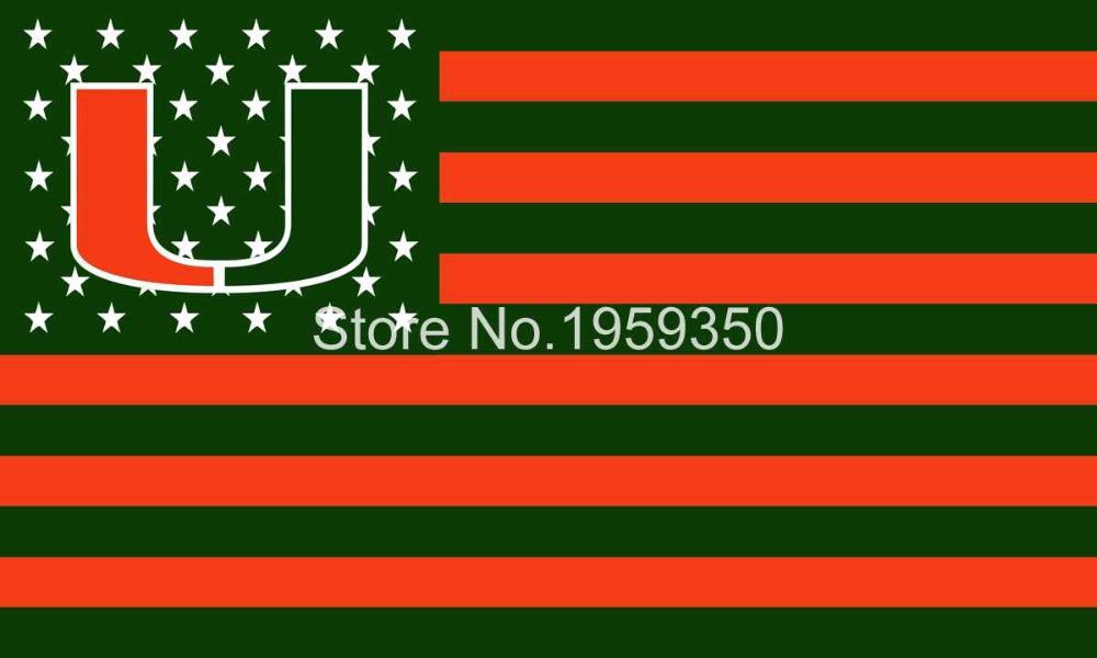 Miami Hurricanes FLAG NCAA Flag 3X5FT Custom Flag(China (Mainland))