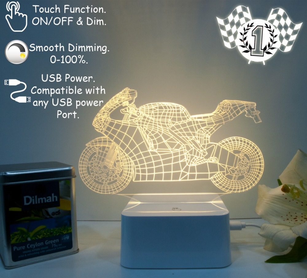 2015 CNHidee Sale Art Deco Crystal Lamps For Living Children Room 3d Motorcycle Table Lamp Light Night Touch Switch Bedroom Gift(China (Mainland))