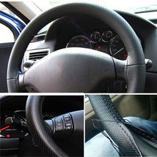 Leather Steering Wheel Cover For Car Truck  With Needles and Thread Black Hot sale