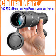 Brand New Saling 20 X 52 Dual Focus Dual Green Film High Powered Monocular Telescope Big Eyepiece for Hunting