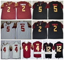 Florida State Seminoles Jerseys FSU College 12 Deondre Francois Jersey 2 Deion Sanders 4 Dalvin Cook Black Red White Team Color(China (Mainland))