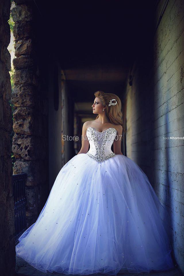 2015 Fashion Sweetheart Sheer Rhinestones Sequins Ball Gown Lace Up Said Mhamad Wedding Dresses Princess Elegant Bridal Dress(China (Mainland))