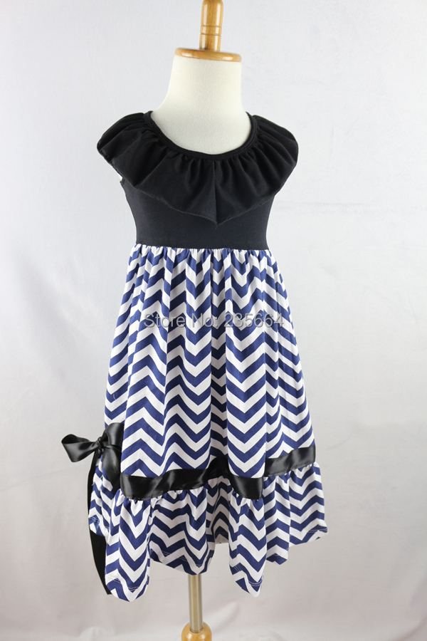 Vestidos Dresses Offer New Girls Clothes Boutique Maxi Dress & Navy Chevron For 1-8 Years Old Girl Kid Long Beach(China (Mainland))