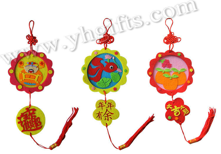 6PCS/LOT.3 design,Handmade spring festival blessing crafts kit,Chinese new year crafts,Home ornament.X'mas tree hanger.DIY toys.(China (Mainland))