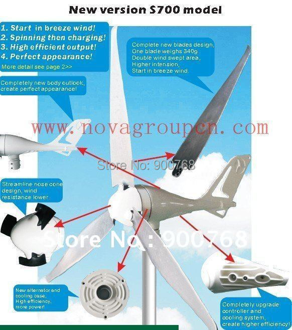 wind turbine/wind mill/wind generator 700W land/marine,24V,could use for on-grid inverter(China (Mainland))