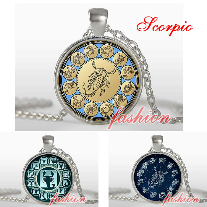 Scorpio pendant, Zodiac Pendant, Astrological Necklace, Silver plated pendant, Astrology, Jewelry Scorpion blue yellow turquoise(China (Mainland))