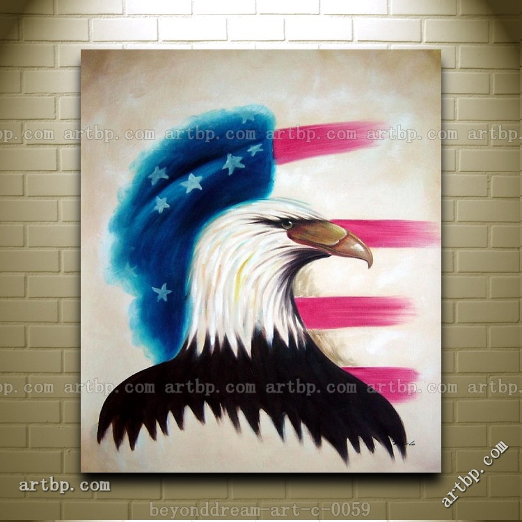 Eagle Head And American Flag Oil Painting Abstract Modern Animal Bald Canvas Picture Restaurant Decoration Free Shipping(China (Mainland))