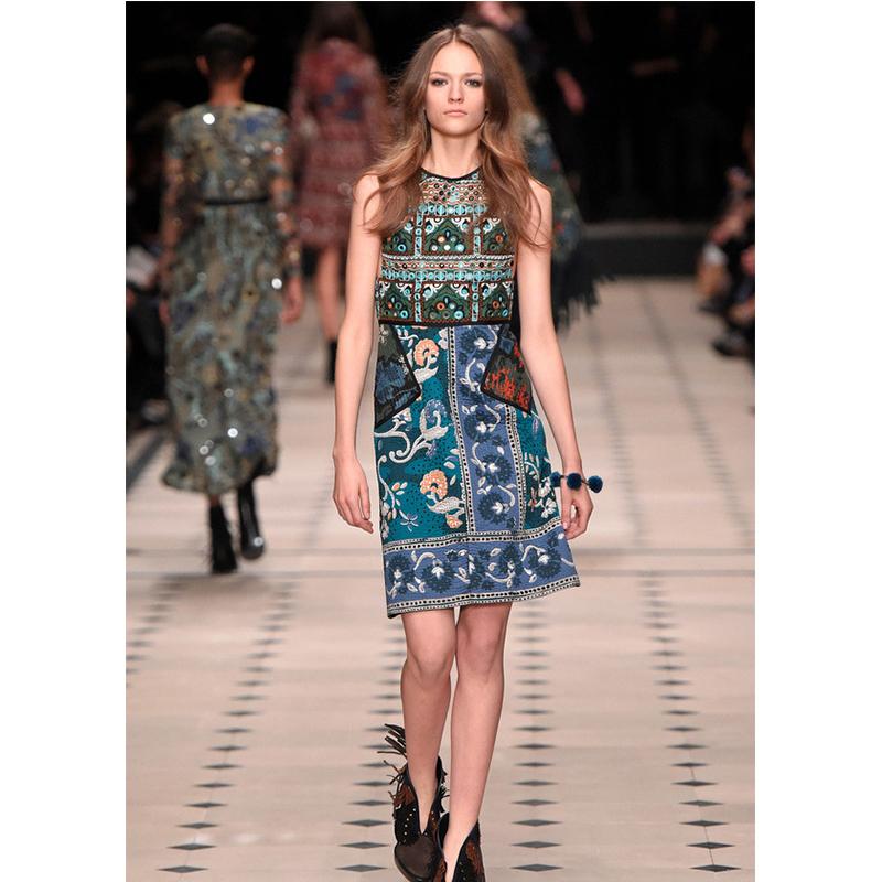 2016 Paris Fashion Week Summer Etnico Dress Brand Women New Woman Style London Fashion Week Retro Print Embroidery This Week Одежда и ак�е��уары<br><br><br>Aliexpress