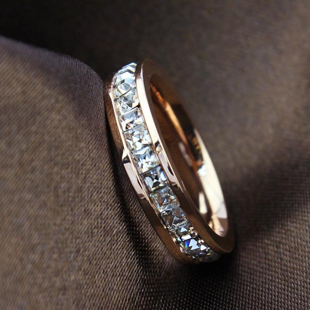 Женщина мода кольцо роуз заполнено титана стали кольца для женщин женский 2015 лето ...