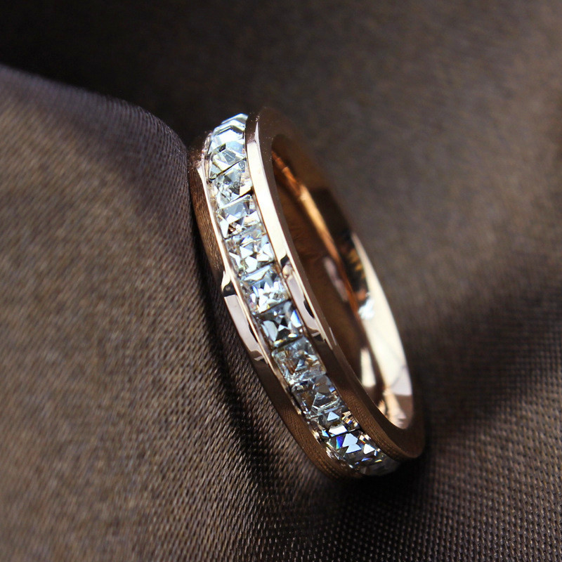 Woman Fashion Ring Rose Gold Filled Titanium Steel Rings For Women Female 2015 Summer Fine Jewelry Bague Femme Whosesale R044(China (Mainland))