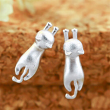 1Pair New Silver Stud Earrings 925 Sterling Cat Silver Earrings Jewelry For Women Statement Earrings(China (Mainland))