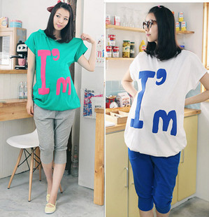 2014maternity cotton comfortable set summer maternity casual sports set fashion print letter maternity t-shirt + pants set for(China (Mainland))