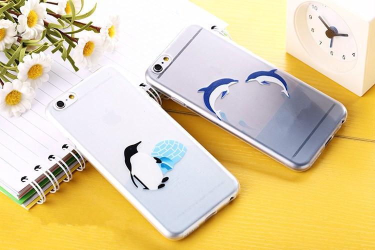 Transparent Dolphin Penguin Polar Bear Case For iPhone 6 6 Plus 5 5S 4 4S 5C Clear TPU Marine Animal Cover Coque Funda Capa Para(China (Mainland))