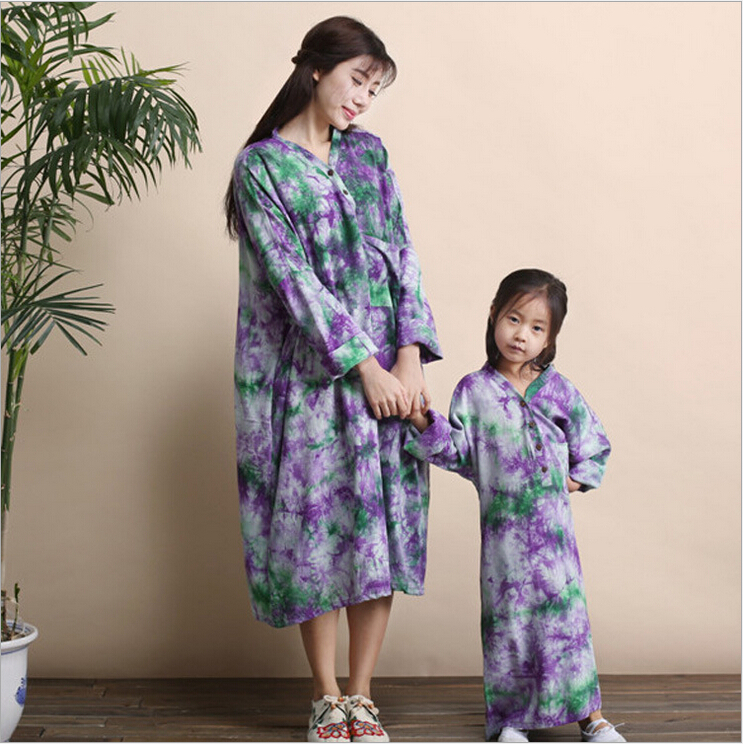 Autumn and spring mother and daughter parent-child literary tie dye slub linen long sleeve plus size casual dress long robeОдежда и ак�е��уары<br><br><br>Aliexpress