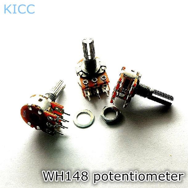 WH148 10 К B10K 6Pin 15 мм Горизонтальный Двойной совместное потенциометра (5 Шт./лот) Бесплатная Доставка