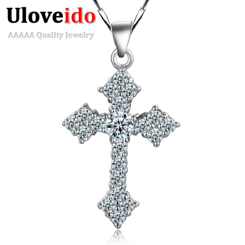 Uloveido 40% off Women Necklaces Cross Necklace Pendant with Chain Rhinestone Men Jewelry Ornament Fashion Gift Best Friend N687(China (Mainland))