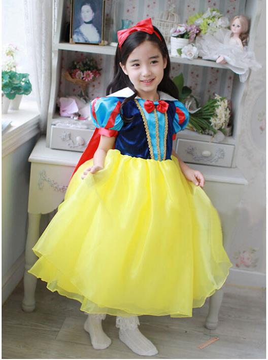 2016 Summer Style New Movie Baby Girls Dresses For Party And Wedding Cosplay Costume Snow White Princess Vestido Infantil Menina(China (Mainland))